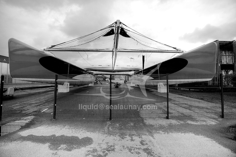The maxi catamaran Orange 2 in the Multiplast Yard in Vannes, Brittany, France.
