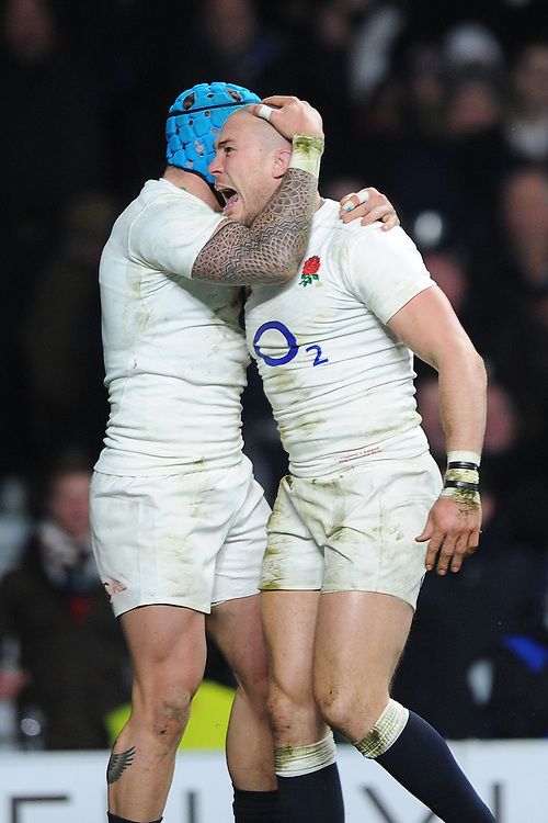 Mike Brown, FEBRUARY 27, 2016 - Rugby : Mike Brown of England celebrates scoring a try with Jack Nowell of England during the RBS 6 Nations match between England and Ireland at Twickenham Stadium, London, United Kingdom. (Photo by Rob Munro)