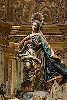 Maria in der Kirche San Francisco der  Bruderschaft Paso Azul bei  der Semana Santa (Karwoche) in Lorca,  Provinz Murcia, Spanien, Europa