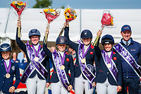 GOLD: Team GB (Nicola Wilson; Rosalind Canter; Kitty King). The Prizegiving. 2021 SUI-FEI European Eventing Championships - Avenches. Switzerland. Sunday 26 September 2021. Copyright Photo: Libby Law Photography