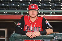 Matt Whatley (19) of the Hickory Crawdads poses for a photo prior to a game against the Kannapolis Intimidators at L.P. Frans Stadium on July 16, 2019 in Hickory, North Carolina. The Crawdads defeated the Intimidators 5-4. (Tracy Proffitt/Four Seam Images)