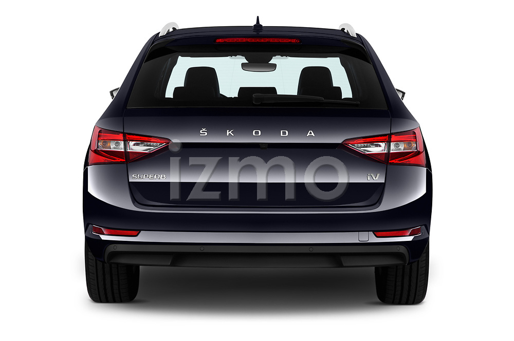 Straight rear view of 2020 Skoda Superb-Combi-iV Style 5 Door Wagon Rear View  stock images