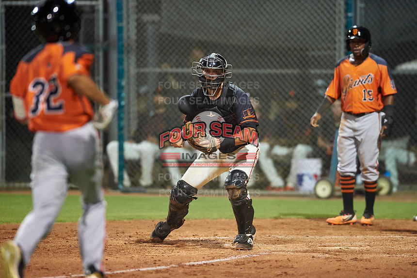 AZL Giants Black catcher Matt Malkin (5) prepares to apply the tag to Najee Gaskins (32) as Raiber Gutierrez (15) looks on during an Arizona League game against the AZL Giants Orange on July 19, 2019 at the Giants Baseball Complex in Scottsdale, Arizona. The AZL Giants Black defeated the AZL Giants Orange 8-5. (Zachary Lucy/Four Seam Images)