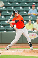 Michael Ohlman (34) of the Frederick Keys at bat against the Winston-Salem Dash at BB&T Ballpark on July 21, 2013 in Winston-Salem, North Carolina.  The Dash defeated the Keys 3-2.  (Brian Westerholt/Four Seam Images)