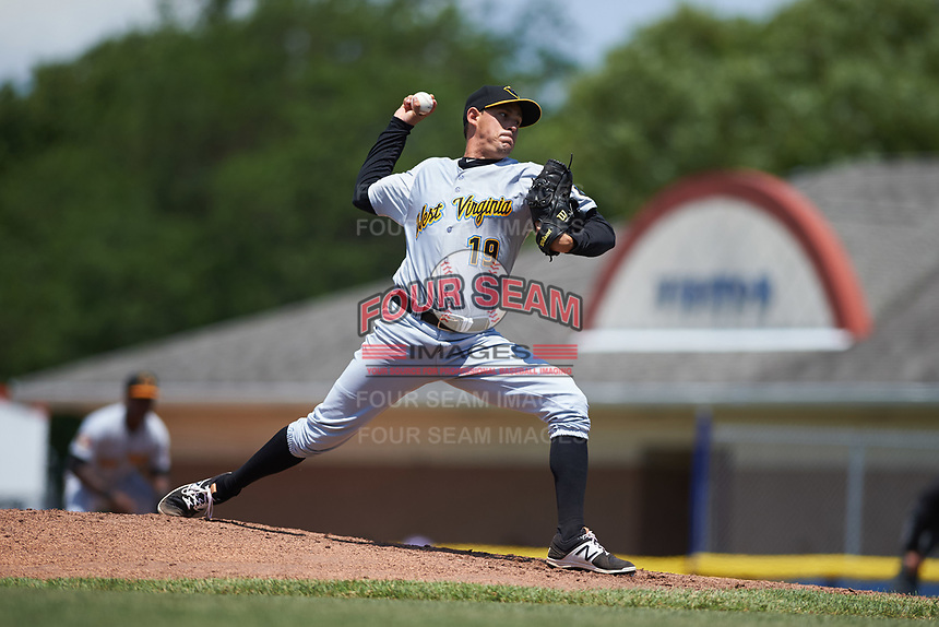 West Virginia Black Bears relief pitcher Yoandy Fernandez (19) delivers a pitch during a game against the Batavia Muckdogs on June 25, 2017 at Dwyer Stadium in Batavia, New York.  West Virginia defeated Batavia 6-4 in the completion of the game started on June 24th.  (Mike Janes/Four Seam Images)