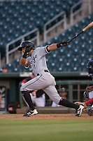 AZL White Sox designated hitter Camilo Quinteiro (1) follows through on his swing during an Arizona League game against the AZL Indians 1 at Goodyear Ballpark on June 20, 2018 in Goodyear, Arizona. AZL Indians 1 defeated AZL White Sox 8-7. (Zachary Lucy/Four Seam Images)