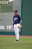 Elizabethton Twins right fielder Jared Akins (12) during a game against the Bristol Pirates on July 29, 2018 at Joe O'Brien Field in Elizabethton, Tennessee.  Bristol defeated Elizabethton 7-4.  (Mike Janes/Four Seam Images)
