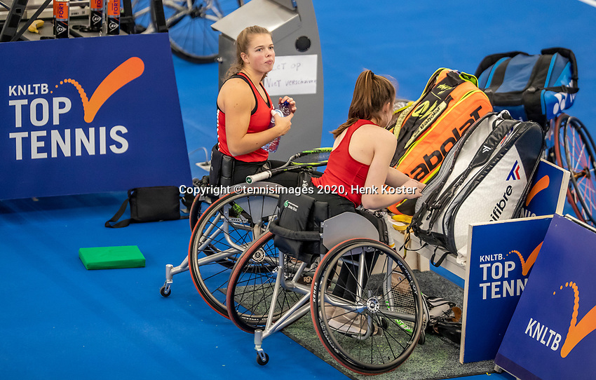 Amstelveen, Netherlands, 12  December, 2020, National Tennis Center, NTC, NKR, National   Indoor Wheelchair Tennis Championships, Women's Doubles Final : Jinte Bos (NED) and Lizzy de Greef (NED)<br /> Photo: Henk Koster/tennisimages.com