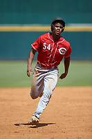 Devin Obee (54) of Ensworth HS in Nashville, TN of the Cincinnati Reds scout team hustles towards third base during the East Coast Pro Showcase at the Hoover Met Complex on August 3, 2020 in Hoover, AL. (Brian Westerholt/Four Seam Images)