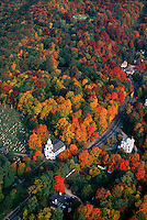 White church and autumn maples Lenox MA