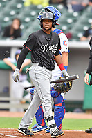 Birmingham Barons left fielder Luis Basabe (3) reacts after striking out during a game against the Tennessee Smokies at Smokies Stadium on May 15, 2019 in Kodak, Tennessee. The Smokies defeated the Barons 7-3. (Tony Farlow/Four Seam Images)
