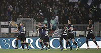 Calcio, Serie A: SS Lazio vs Internazionale Milano, Olympic stadium, Rome, October 29, 2018.<br /> Inter's Marcelo Brozovic (l) celebrates after scoring with his teammates during the Italian Serie A football match between SS Lazio and Inter Milan at Rome's Olympic stadium, on October 29, 2018.<br /> UPDATE IMAGES PRESS/Isabella Bonotto