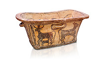Minoan  pottery bath tub  larnax decorated with a cow nursing a calf,  Episkopi-Lerapetra 1350-1250 BC, Heraklion Archaeological  Museum, white background.<br /> <br /> To the Greeks, the Underworld was entered by water. As with many other Minoan bathtubs, this one was probably later used as a coffin to convey the deceased across the sea, where marine imagery would be equally appropriate. The two functions of bathtubs, bathing and burial, combine in the story of Agamemnon who, on return from Troy, was murdered by his wife and her lover in a silver bath.