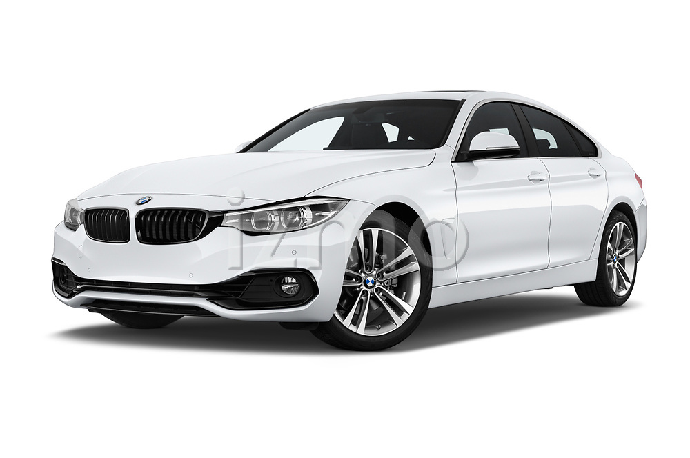 Stock pictures of low aggressive front three quarter view of a 2018 BMW 4 Series Gran Coupe 2wd 430i 5 Door Hatchback