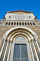 12th century Roamesque Portal on the facade of the 8th century Romanesque Basilica church of St Peters, Tuscania, Lazio, Italy