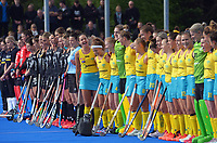 The teams line up before the Sentinel Homes Trans Tasman Series hockey match between the New Zealand Black Sticks Women and the Australian Hockeyroos at Massey University Hockey Turf in Palmerston North, New Zealand on Sunday, 30 May 2021. Photo: Dave Lintott / lintottphoto.co.nz