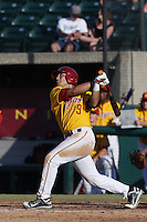 Frankie Rios #9 of the USC Trojans bats against the Northwestern Wildcats at Dedeaux Field on  February 16, 2014 in Los Angeles, California. USC defeated Northwestern, 13-6. (Larry Goren/Four Seam Images)