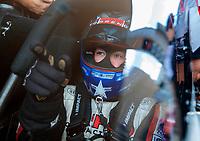 Jul 21, 2019; Morrison, CO, USA; NHRA top fuel driver Steve Torrence reacts during the Mile High Nationals at Bandimere Speedway. Mandatory Credit: Mark J. Rebilas-USA TODAY Sports