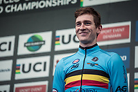 Toon Aerts (BEL) on podium after finishing 3th place. <br /> <br /> Men's Elite race <br /> <br /> UCI 2019 Cyclocross World Championships<br /> Bogense / Denmark<br /> <br /> <br /> ©kramon