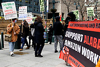 NEW YORK, NEW YORK - MARCH 04: People attends a protest to support Amazon workers in Alabama on March 04, 2021 in New York. Amazon is the second largest employer in the United States - with 400,000 workers and about 1.3 million employees worldwide. (Photo by Emaz/VIEWpress)