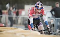 Mathieu Van der Poel (NED/Beobank-Corendon) entering his last lap<br /> <br /> 2016 CX Superprestige Spa-Francorchamps (BEL)