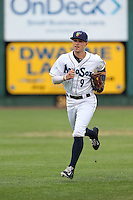 Braden Bishop (9) of the Everett AquaSox in the field during a game against the Spokane Indians at Everett Memorial Stadium on July 24, 2015 in Everett, Washington. Everett defeated Spokane, 8-6. (Larry Goren/Four Seam Images)