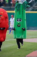 Buffalo Bisons mascot Celery in a race during a game against the Indianapolis Indians on August 17, 2017 at Coca-Cola Field in Buffalo, New York.  Buffalo defeated Indianapolis 4-1.  (Mike Janes/Four Seam Images)
