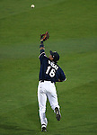 With bases loaded Reno Aces' Ildemaro Vargas makes a diving catch to end the top of the 6th in a game against the Sacramento River Cats at Greater Nevada Field in Reno, Nev., on Tuesday, July 26, 2016.  <br />Photo by Cathleen Allison