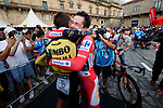 Red Jersey Primoz Roglic (SLO) hugs team mate Sepp Kuss (USA) Jumbo-Visma  after winning Stage 21 and La Vuelta d'Espana 2021, an individual time trial running 33.8km from Padron to Santiago de Compostela, Spain. 5th September 2021.    <br /> Picture: Luis Angel Gomez/Photogomezsport | Cyclefile<br /> <br /> All photos usage must carry mandatory copyright credit (© Cyclefile | Luis Angel Gomez/Photogomezsport)