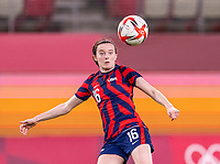 KASHIMA, JAPAN - AUGUST 5: Rose Lavelle #16 of the USWNT controls the ball during a game between Australia and USWNT at Kashima Soccer Stadium on August 5, 2021 in Kashima, Japan.