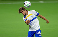 LOS ANGELES, CA - SEPTEMBER 02: Cade Cowell #44 of San Jose Earthquakes heads a ball during a game between San Jose Earthquakes and Los Angeles FC at Banc of California stadium on September 02, 2020 in Los Angeles, California.