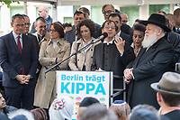 """Solidaritaetskundgebung """"Berlin traegt Kippa"""" am Mittwoch den 25. April 2018 vor dem Juedischen Gemeindehaus Fasanenstraße in Berlin.<br /> Die Juedische Gemeinde zu Berlin rieft alle Berlinerinnen und Berliner zu dieser Solidaritaetskundgebung auf, nachdem in der Woche zuvor ein arabischer Israeli in Berlin von einem Jugendlichen mit einem Guertel verpruegelt wurde weil er eine Kippa getragen hat.<br /> Die Juedische Gemeinde wollte mit dieser Aktion ein Zeichen gegen Antisemitismus und Intoleranz setzen und ein breites gesellschaftliches Buendnis mobilisieren.<br /> Im Bild: Bischof Dr. Markus Droege, Evangelische Kirche Berlin-Brandenburg-schlesische Oberlausitz<br /> Erzbistum Berlin.<br /> 25.4.2018, Berlin<br /> Copyright: Christian-Ditsch.de<br /> [Inhaltsveraendernde Manipulation des Fotos nur nach ausdruecklicher Genehmigung des Fotografen. Vereinbarungen ueber Abtretung von Persoenlichkeitsrechten/Model Release der abgebildeten Person/Personen liegen nicht vor. NO MODEL RELEASE! Nur fuer Redaktionelle Zwecke. Don't publish without copyright Christian-Ditsch.de, Veroeffentlichung nur mit Fotografennennung, sowie gegen Honorar, MwSt. und Beleg. Konto: I N G - D i B a, IBAN DE58500105175400192269, BIC INGDDEFFXXX, Kontakt: post@christian-ditsch.de<br /> Bei der Bearbeitung der Dateiinformationen darf die Urheberkennzeichnung in den EXIF- und  IPTC-Daten nicht entfernt werden, diese sind in digitalen Medien nach §95c UrhG rechtlich geschuetzt. Der Urhebervermerk wird gemaess §13 UrhG verlangt.]"""