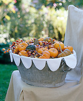 A zinc tub lined with a scalloped cover is filled with autumn's seasononal harvest