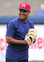 23 April 2007: Kelvin Villa of the Mississippi Braves, the Atlanta Braves' Class AA affiliate of the Southern League, in a game against the Birmingham Barons at Trustmark Park in Pearl, Miss. Photo by:  Tom Priddy/Four Seam Images