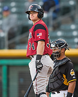 Christian Arroyo (34) of the Sacramento River Cats at bat against the Salt Lake Bees in Pacific Coast League action at Smith's Ballpark on April 13, 2017 in Salt Lake City, Utah.  Salt Lake defeated Sacramento 4-3. (Stephen Smith/Four Seam Images)