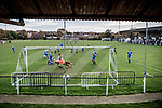 Harwich & Parkeston 2 Barnston 0, 11/11/2017. Royal Oak Ground, Andreas Carter Essex & Suffolk Border League Premier Division. Harwich & Parkeston reached the final of the Amateur Cup in 1953 at Wembley Stadium and played in front of a crowd of 100,000. <br /> A point blank save from the Harwich & Parkeston goalkeeper who was making his debut. Photo by Simon Gill.