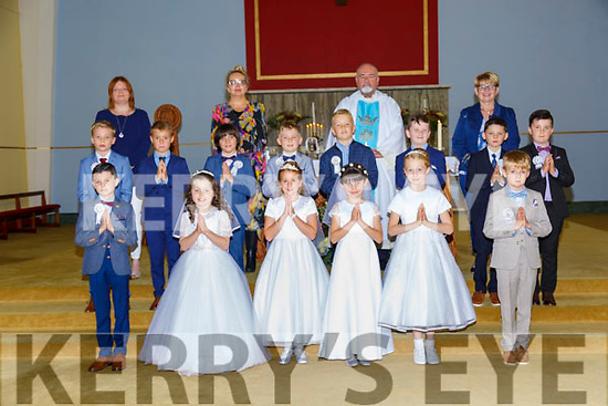 Pupils from Moyvane NS who received their 1st Communion from Fr. Kevin McNamara, PP Moyvane at the Church of the Assumption on Saturday last. Inclde in the photo are teachers Elvina McDermott, Noreen Buckley Julienne Diggins, Principal.