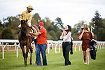 October 02, 2020:  Andie Biancone reacts after Diamond Oops with Florent Geroux wins the Stoll Ogden Phoenix stakes at Keenland Racecourse, in Lexington, Kentucky on October 02, 2020.  Evers/Eclipse Sportswire/CSM