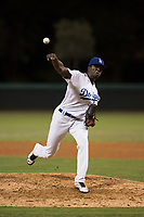 AZL Dodgers relief pitcher Jeronimo Castro (61) delivers a pitch during an Arizona League game against the AZL White Sox at Camelback Ranch on July 3, 2018 in Glendale, Arizona. The AZL Dodgers defeated the AZL White Sox by a score of 10-5. (Zachary Lucy/Four Seam Images)