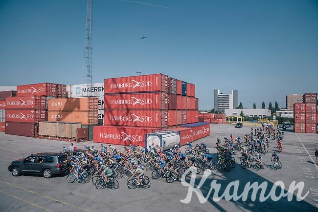 peloton cruising through the Antwerp Harbour (and loading docks!) during the neutralised section<br /> <br /> 92nd Schaal Sels 2017 <br /> 1 Day Race: Merksem > Merksem (188km)