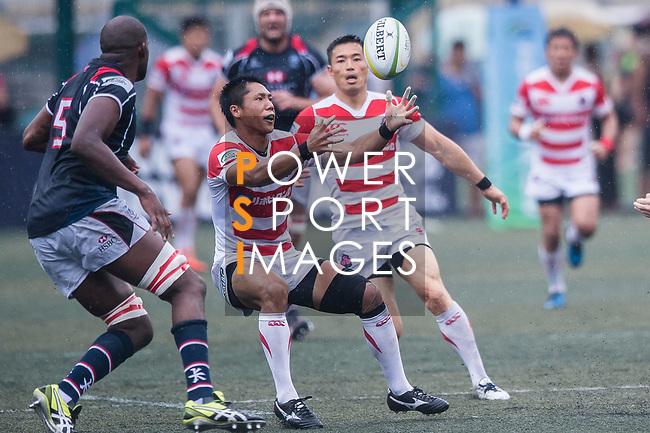 Takuya Yamasawa of Japan (C) in action during the Asia Rugby Championship 2017 match between Hong Kong and Japan on May 13, 2017 in Hong Kong, China. Photo by Marcio Rodrigo Machado / Power Sport Images