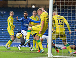 26.12.2020 Rangers v Hibs: Connor Goldson reacts as his header is saved