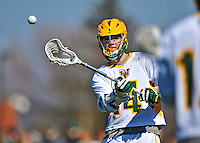 17 March 2012: University of Vermont Catamount Midfielder Thomas Galvin, a Junior from Cockeysville, MD, in action against the Sacred Heart University Pioneers at Virtue Field in Burlington, Vermont. The Catamounts defeated the visiting Pioneers 12-11 with only 10 seconds remaining in their non-conference matchup. Mandatory Credit: Ed Wolfstein Photo