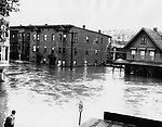 North Riverside Street in Waterbury during the August 1955 flood.