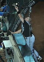 Jun. 1, 2011; Phoenix, AZ, USA; Florida Marlins catcher John Buck catches the foul popup hit by Arizona Diamondbacks batter Justin Upton (not pictured) in the fifth inning at Chase Field. Mandatory Credit: Mark J. Rebilas-