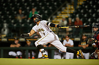 Bradenton Marauders Adrian Valerio (2) bats during a Florida State League game against the Fort Myers Miracle on April 23, 2019 at LECOM Park in Bradenton, Florida.  Fort Myers defeated Bradenton 2-1.  (Mike Janes/Four Seam Images)