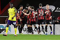 Junior Stanislas of AFC Bournemouth is mobbed after scoring the fourth goal during AFC Bournemouth vs Huddersfield Town, Sky Bet EFL Championship Football at the Vitality Stadium on 12th December 2020