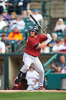 Lehigh Valley IronPigs first baseman Chris McGuiness (24) at bat during a game against the Rochester Red Wings on July 4, 2015 at Frontier Field in Rochester, New York.  Lehigh Valley defeated Rochester 4-3.  (Mike Janes/Four Seam Images)