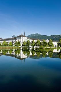 Austria, Styria, Admont: Admont Abbey | Oesterreich, Steiermark, Admont: Stiftsteich und Stift Admont