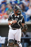 Quad Cities River Bandits catcher Christian Correa (9) throws down to second during a game against the Bowling Green Hot Rods on July 24, 2016 at Modern Woodmen Park in Davenport, Iowa.  Quad Cities defeated Bowling Green 6-5.  (Mike Janes/Four Seam Images)
